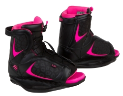 Ronix - 2014 Luxe Wakeboard Bindings - Black Cheetah/Shocking Pink