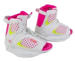 Ronix - 2015 August Girl's Kids Wakeboard Bindings-White/Pink a Dot/Neon